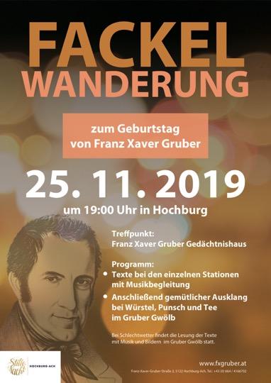 Fackelwanderung am Geburtstag von Franz Xaver Gruber